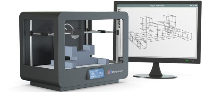 Image of a 3D printer next to a CAD design on an LCD monitor
