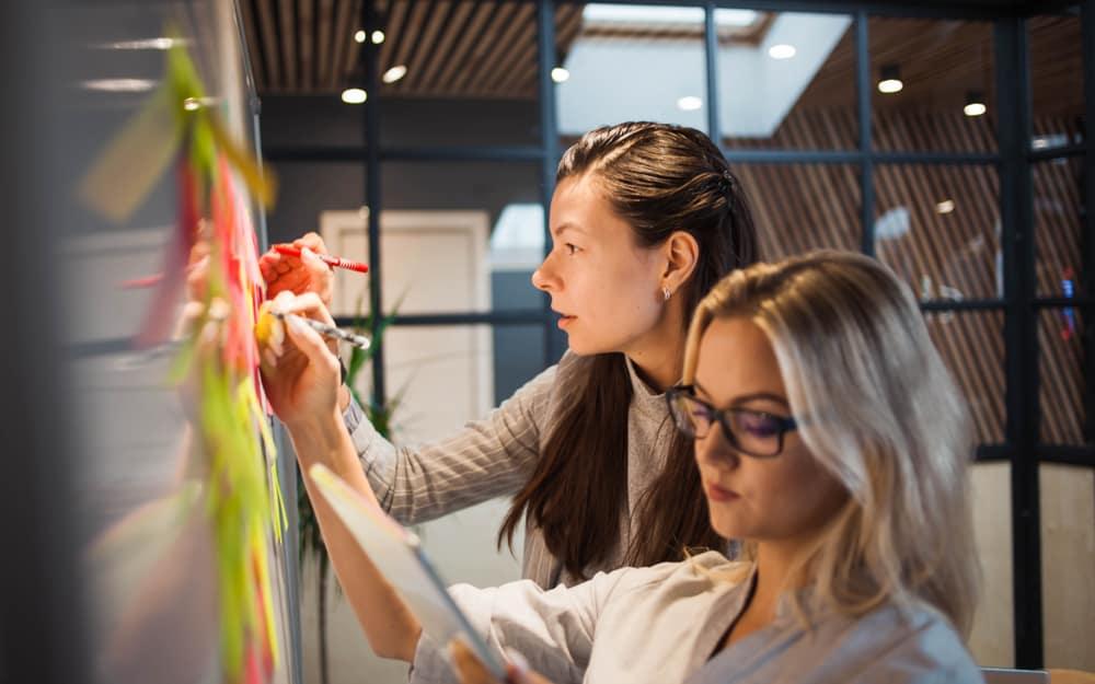 employees plot product development on whiteboard