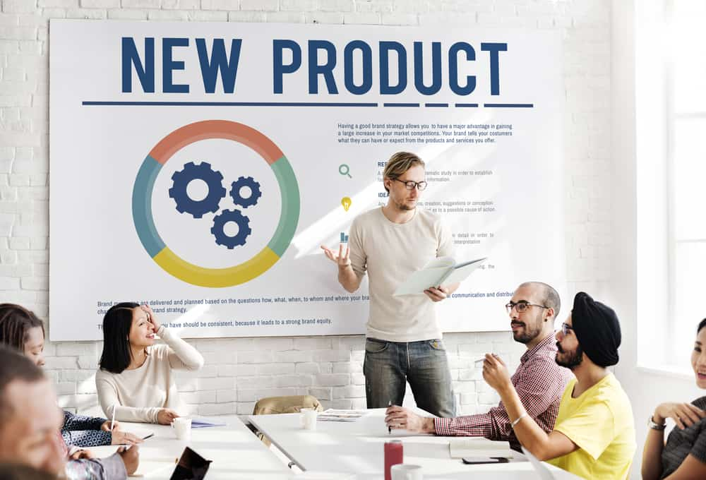 Project team discussing a new product development strategy.